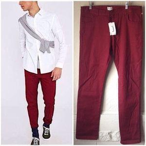 NWT Adolfo Dominguez Men's Maroon Pants Trousers